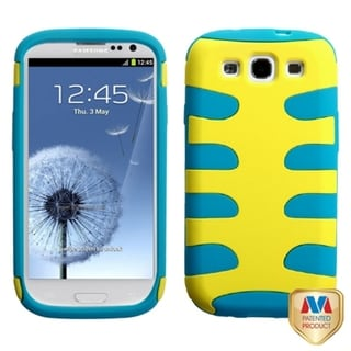 MYBAT Yellow/ Tropical Teal Fishbone Cover for Samsung Galaxy S III