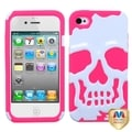 MYBAT White/ Pink Skullcap Hybrid Phone Cover for Apple iPhone 4/ 4S