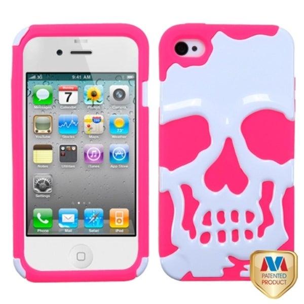 INSTEN White/ Pink Skullcap Hybrid Phone Cover for Apple iPhone 4/ 4S