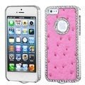 MYBAT Hot Pink Leather Dazzling Case with Diamonds for Apple iPhone 5