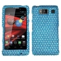 MYBAT Blue/ White Dots Diamante Protector Cover for Motorola XT926M