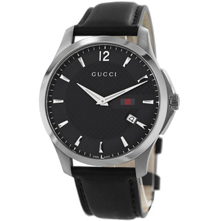 Gucci Men's YA126304 'Timeless' Black Dial Black Leather Strap Quartz Watch