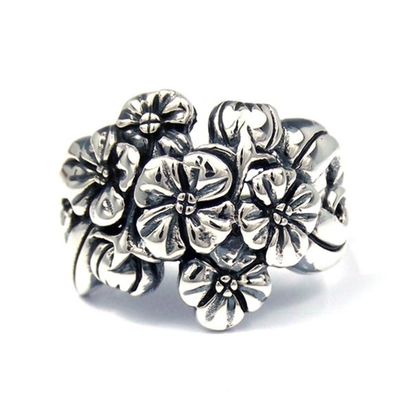 Stunning Floral Cluster Bouquet .925 Sterling Silver Ring (Thailand)