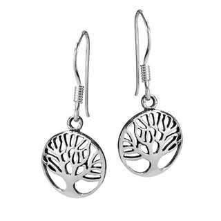 Cute Rare Branches Tree of Life .925 Silver Earrings (Thailand)