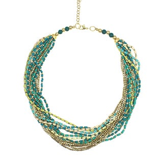 Handcrafted Green and Gold Glass/Metal Beads Necklace (India)