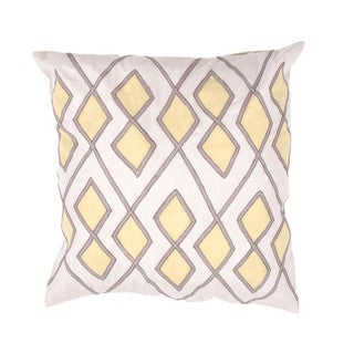 Geometric Cotton Ivory/ Yellow 18-inch Decorative Pillow