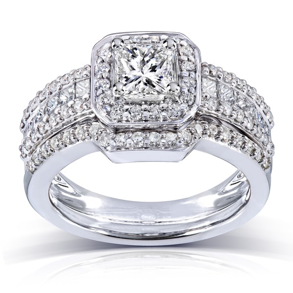 Annello 14k Gold 1 2/5ct TDW Diamond Halo Bridal Ring Set (H-I, I1-I2)