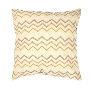 Yellow Zig Zag Embroidered 18-inch Decorative Square Pillow