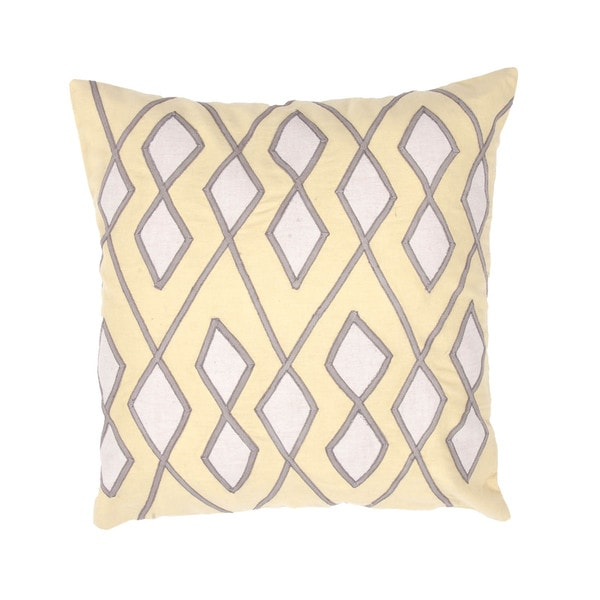 Geometric Chambray Cotton Yellow/ Ivory 18-inch Decorative Square Pillow