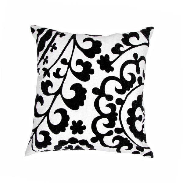 Cotton Black/ White 18-inch Square Decorative Pillow