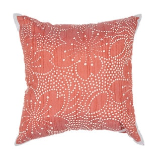 Japenese Floral Design Coral 18-inch Decorative Square Pillow