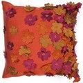 Bohemian Orange Laser Cut Flower 18-inch Decorative Pillow
