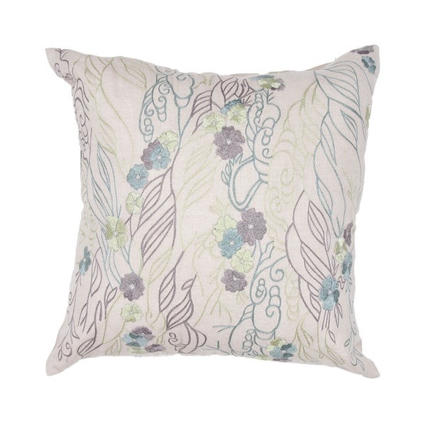 Pastel Floral Whimsical Chambrey Ivory 18-inch Square Decorative Pillow