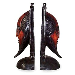 Set of 2 Handcrafted Sese Wood 'African Scholar' Bookends (Ghana)