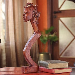 Handcrafted Sese Wood 'Beautiful Lady' Sculpture , Handmade in Ghana