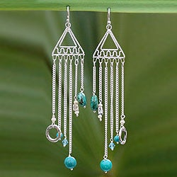 Sterling Silver 'Trapeze' Chrysocolla Pearl Earrings (Thailand)