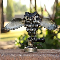 Recycled Metal 'Rustic Horned Owl' Sculpture (Mexico)