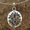 Sterling Silver 'Tropical Bloom' Multi-gemstone Necklace (India)