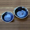 Set of 2 Stoneware Ceramic 'Mystic Blue Oysters' Bowls (Indonesia)