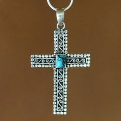 Sterling Silver 'Faith' Reconstituted Turquoise Necklace (Indonesia)