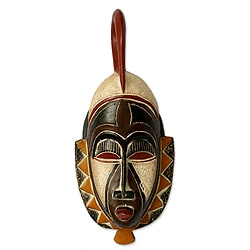 Handcrafted Sese Wood 'Family Values' African Mask (Ghana)