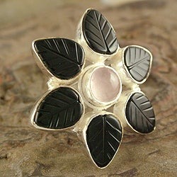 Sterling Silver 'Unforgettable' Onyx and Rose Quartz Ring (India)