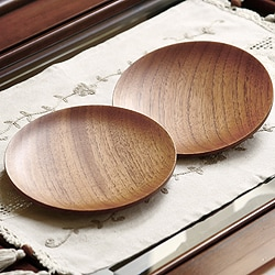 Set of 2 Handcrafted Mahogany Wood 'Maya Sun' Plates (Guatemala)