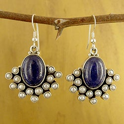 Sterling Silver 'Serenade' Lapis and Pearl Earrings (3 mm) (India)
