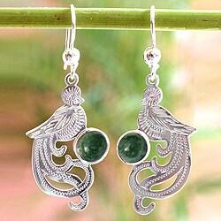 Jade Dangle Earrings 'Green Quetzal' (Guatemala)