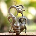 Balinese Woman Modern Art Handmade Artisan Designer Home Decor Accent Brown Tan Natural Hibiscus Wood Gift Mask (Indonesia)