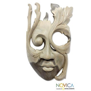 Hibiscus Wood 'Blossoming Woman' Mask (Indonesia)