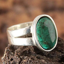 Sterling Silver 'So Precious' Chrysocolla Ring (Peru)