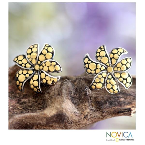 Gold Overlay 'Frangipani' Silver Earrings (Indonesia)