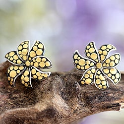 Gold Overlay 'Frangipani' Silver Earrings (Indonesia)
