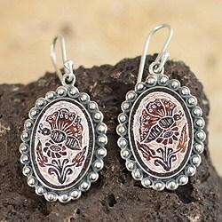Sterling Silver 'Andean Butterfly' Dried Gourd Earrings (Peru)