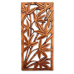 Suar Wood 'Autumn Song' Relief Panel Wall Sculpture (Indonesia)