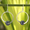 Sterling Silver 'Earth Circle' Lapis Lazuli Earrings (Thailand)
