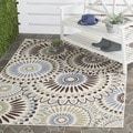 Safavieh Veranda Piled Indoor/ Outdoor Cream/ Blue Rug (2&#39;7 x 5&#39;)