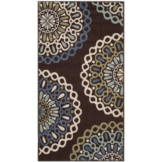 Safavieh Veranda Piled Indoor/Outdoor Chocolate/Blue Polypropylene Rug (2'7 x 5')