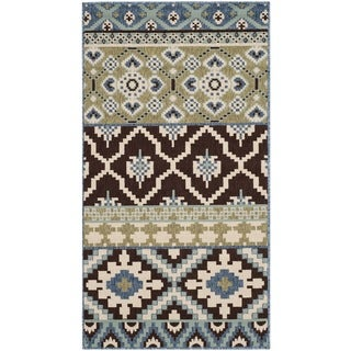 Safavieh Veranda Piled Indoor/ Outdoor Chocolate/ Blue Rug (2'7 x 5')