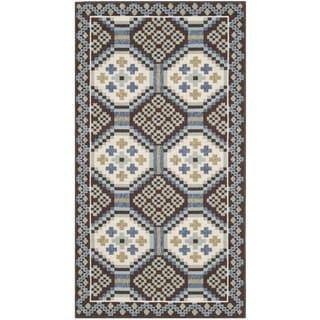 Safavieh Veranda Piled Indoor/ Outdoor Blue/ Chocolate Rug (2'7 x 5')