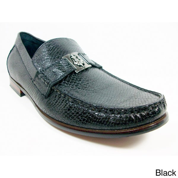 Ferro Aldo Men's Snake Textured Buckle Loafers