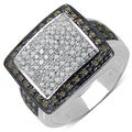 Sterling Silver 5/8ct TDW Champagne and White Diamond Cocktail Ring (I-J, I3)
