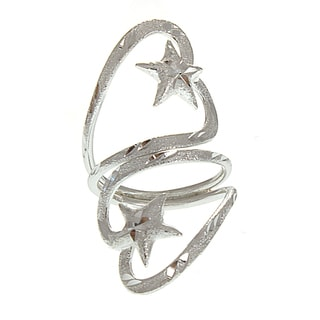 Handcrafted Alpaca Diamond-cut Star Silvertone Heart Bypass Ring (Mexico)