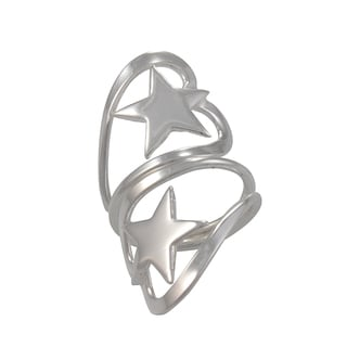 Handcrafted Alpaca Silvertone Heart Star Bypass Ring (Mexico)
