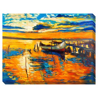 Boat at Dock Oversized Gallery Wrapped Canvas