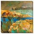 Abstract Sea Boats Oversized Gallery Wrapped Canvas