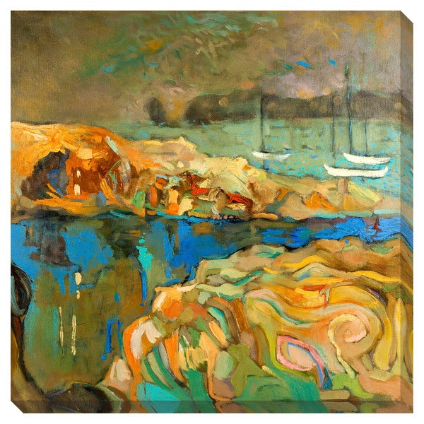 Gallery Direct Abstract Sea Boats Oversized Gallery Wrapped Canvas