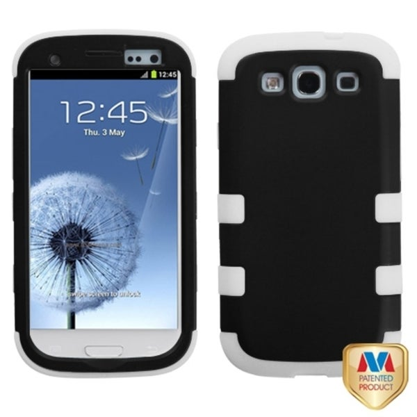 INSTEN Black/ White Phone Case Cover for Samsung Galaxy S III/ S3