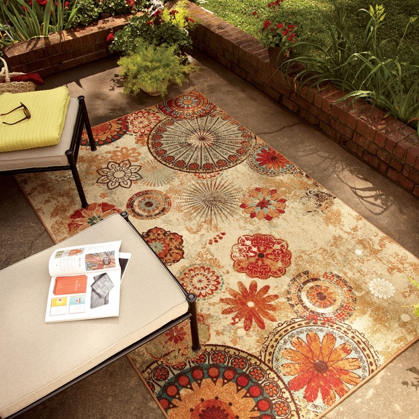 Indoor Outdoor Medallion Multi Rug 8 x 10